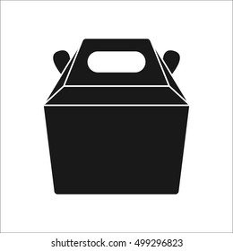 Fast food carrying box container symbol sign silhouette icon on background