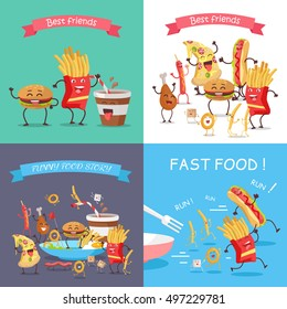 Fast food cartoon characters banner set. Happy fast food cartoon characters runing, fun, rejoice and dance. French fries, hot dog, pizza, cola, hamburger, fried eggs, chicken leg and bacon characters
