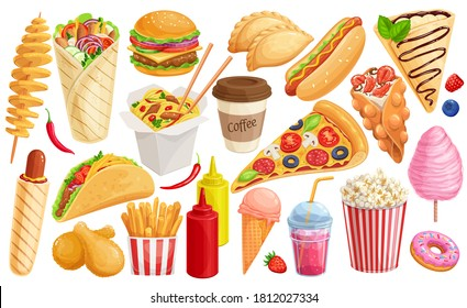 Fast food cartoon icon set. Hamburger, hot dog, shawarma, wok noodles, pizza and others for takeaway cafe design. Vector illustration of street food flat style.