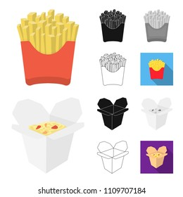 Fast food cartoon,black,flat,monochrome,outline icons in set collection for design.Food from semi-finished products vector symbol stock web illustration.