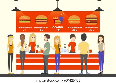 Fast food cashier. People in uniform sell the food to customers. Burgers, french fries and drinks.