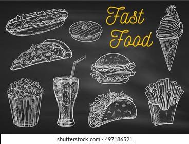 Fast food chalk sketch icons on blackboard. Snacks, desserts, drinks. Isolated vector french fries in box, pizza slice, soda coke, cheeseburger, hamburger, hot dog, ice cream, popcorn, tacos donut