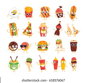 Fast Food Characters - modern vector mascot illustrations set. Ice cream, coffee, hot dog, pizza, chicken leg, egg, french fries, toast, burger, coke, popcorn, wok, donut, mustard, ketchup, soft drink