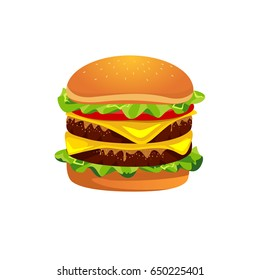 Fast food Cheeseburger icon design. Vector illustration