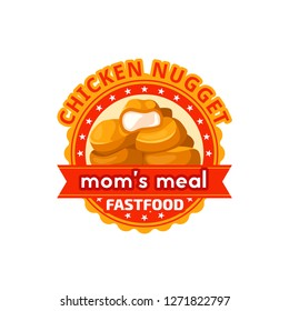 Fast food chicken nuggets icon for fastfood restaurant. Vector isolated symbol chicken bbq or grill finger food snack for street food cafe or cinema bar bistro, delivery and takeaway