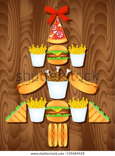 Fast Food Open On Christmas.Fast Food Christmas Tree Red Bow Stock Vector Royalty Free