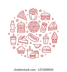 Fast food circle illustration with flat line icons. Thin vector signs for restaurant menu poster - burger, french fries, soda, pizza, hot dog, cheesecake, coffee, ice cream. Junk food concept.
