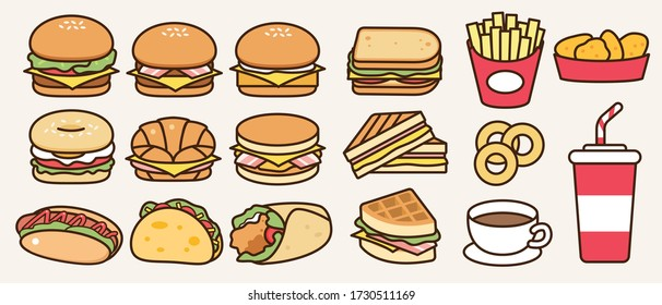 Fast food collection: burger restaurant product, fries and drinks . Unhealthy and fat meal vector illustration flat drawing icon.
