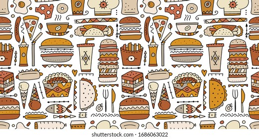 Fast food collection. Hamburger pizza sausages snacks sandwich ice cream. Food menu, seamless pattern for your design. Vector illustration