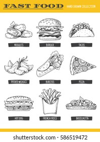 Fast food collection. Vector illustration of hand drawn food, including burger, hot dog, sandwich, pizza, french fries, nuggets, tacos and potato wedge, isolated on white.