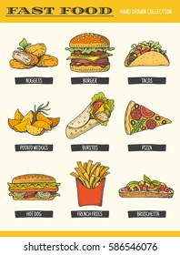 Fast food collection. Vector illustration of hand drawn color food, including burger, hot dog, sandwich, pizza, french fries, nuggets, tacos and potato wedge, isolated on white.