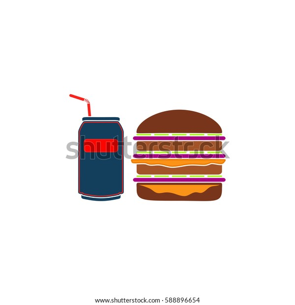 Fast food. Color symbol icon on white background. Vector illustration