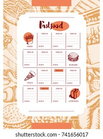 Fast food - color vector hand drawn vintage template menu with copy space. Realistic chicken wing, nugget, cheeseburger, French fries, noodles, popcorn, sausage, pizza, sandwich. Represent your diner.
