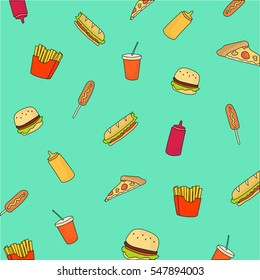 Fast food colorful flat sketch hand drawn icon set. Fast food background with soda drink, sandwich, hamburger, pizza, mustard, ketchup, french fries on the green backround
