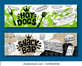 Fast food colorful modern banners set labels. Fast food.Snack bar. Hot dog, hamburger, coffee, wings, nuggets, tacos. Bright cool food sketches composition. Hand drawn vector illustration.
