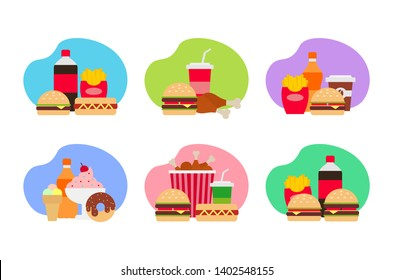 fast food  combo meal set on white background flat illustration