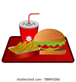 Fast food combo on a white background, vector illustration