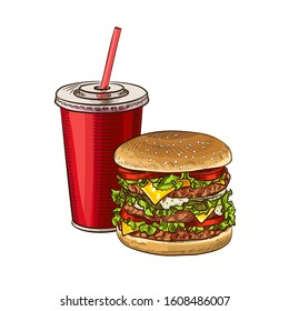 Fast food COMBO sketch for fastfood restaurant or bistro. Vector cheeseburger burger or hotdog sandwich snack, french fries or pizza and coffee or soda drink, taco and black burger