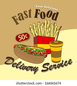 fast food commercial page illustration