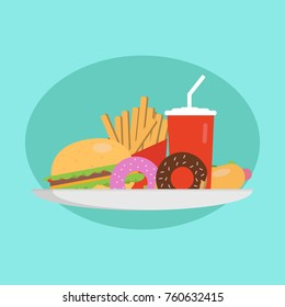 Fast food concept. Plate with a burger, hot dog, donuts, and cola. Vector Illustration