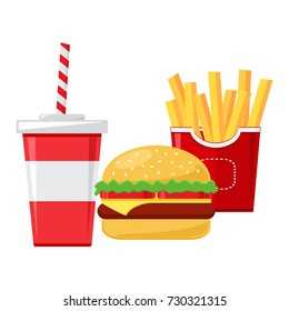 Fast food. Cup of cola with french fries and cheeseburger. Vector illustration