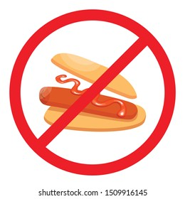 Fast Food Danger. Stop Hot dog. Vector illustration.