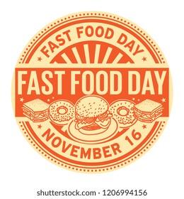 Fast Food Day, November 16, rubber stamp, vector Illustration