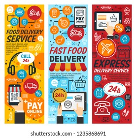 Fast food delivery banners or express service for order meals from mobile gadget. Vector tablet and smartphone with hamburger and donut with taco icons. Online payment by credit card outline symbols