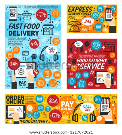 Fast Food Delivery Service Online Order Stock Vector
