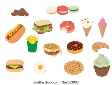 Fast food and deserts collection
