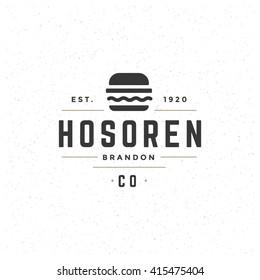 Fast Food Design Element in Vintage Style for Logotype, Label, Badge, T-shirts and other design. Burger Silhouette Retro vector illustration.
