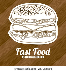 Fast Food design over wooden  background, vector illustration.