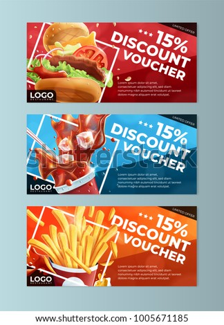 Fast Food Discount Voucher Templates Stock Vector (Royalty Free ...