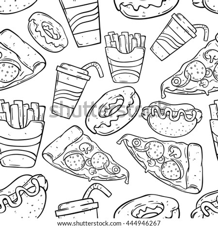 Fast Food Doodle Art Seamless Pattern Stock Vector (Royalty Free ...