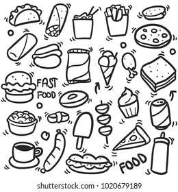 Fast Food Doodle Icons Hand Made Vector Line Art Sketch
