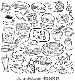Fast Food Doodle Icons. Hand Made Line Art. Menu Restaurant. Famous Food. Logotype Symbol Design.