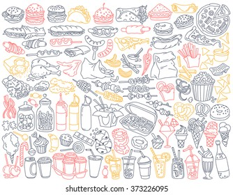 Fast food doodle set. Various take away meals, snack and drinks - burgers, french fries, chicken wings, barbecue, sweets, soda, coffee to go. Vector illustration isolated over white background.