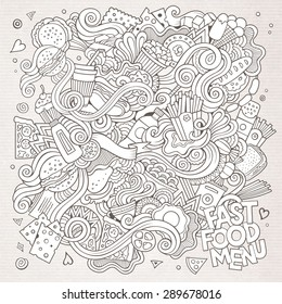 Fast food doodles elements background. Vector sketchy illustration