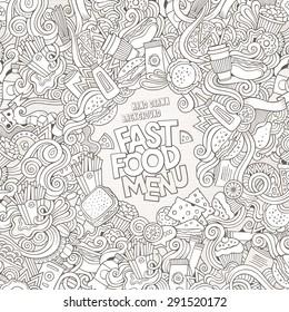 Fast food doodles elements frame background. Vector illustration