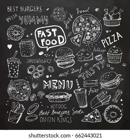 Fast food doodles. Hand drawn vector symbols and objects