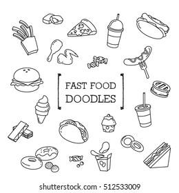 Fast food doodles set. Hand drawing styles Fast food menu