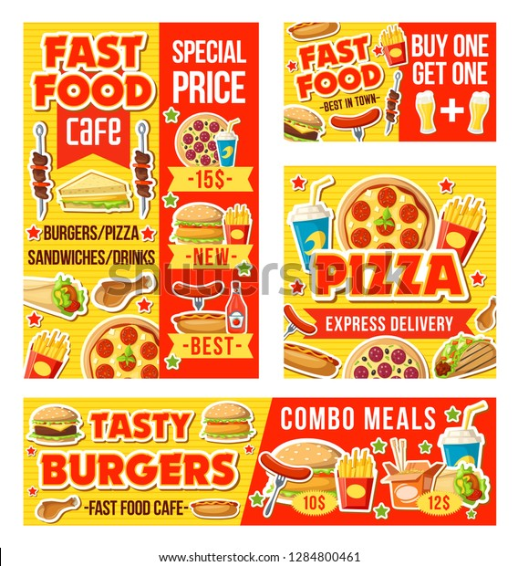 Fast Food Drinks Menu Vector Pizza Stock Vector Royalty