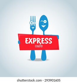 Fast food, express cafe logo template. Fork and spoon cartoon characters,  food theme logotype vector template.