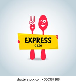 Fast food, express cafe logo template. Yellow and red color. Fork and spoon cartoon characters, food theme logotype vector template.