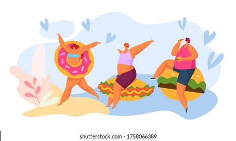Fast food and fat people cartoon character, vector illustration. Man woman with huge fastfood, burger, donut and hot dog. Junk american sandwich, eating meal flat concept, happy person.