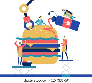 Fast food - flat design style colorful illustration on white background. High quality unusual composition with male, female characters, cooks preparing a big hamburger, adding sauce, ingredients
