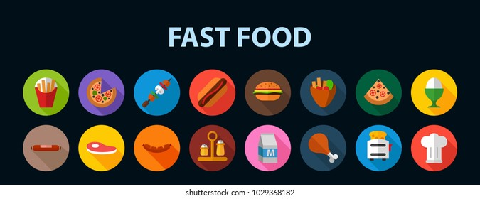 Fast food flat icon concept. Vector illustration. Element template for design.