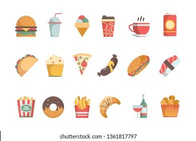 Fast food flat icons. Sandwich burger cold drinks ice cream pizza hamburger vector food menu symbols