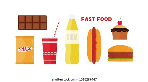 Fast food flat vector illustrations set. Restaurant takeaway products isolated cliparts pack on white background. Unhealthy nutrition eating. Tasty hotdog, burger junk food design elements collection.