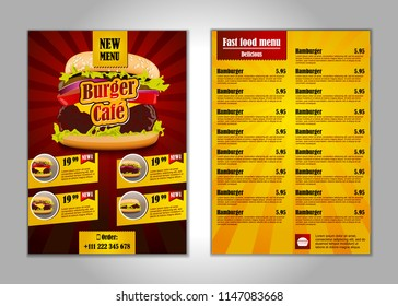 Fast food flyer design template in A4 size.
